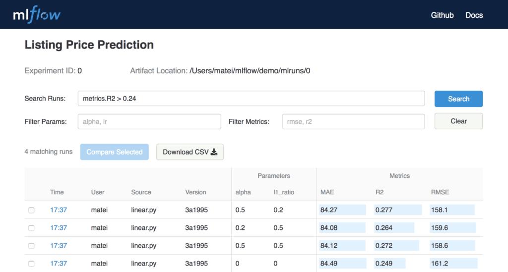 MLflow Tracking UI Quelle databricks.com
