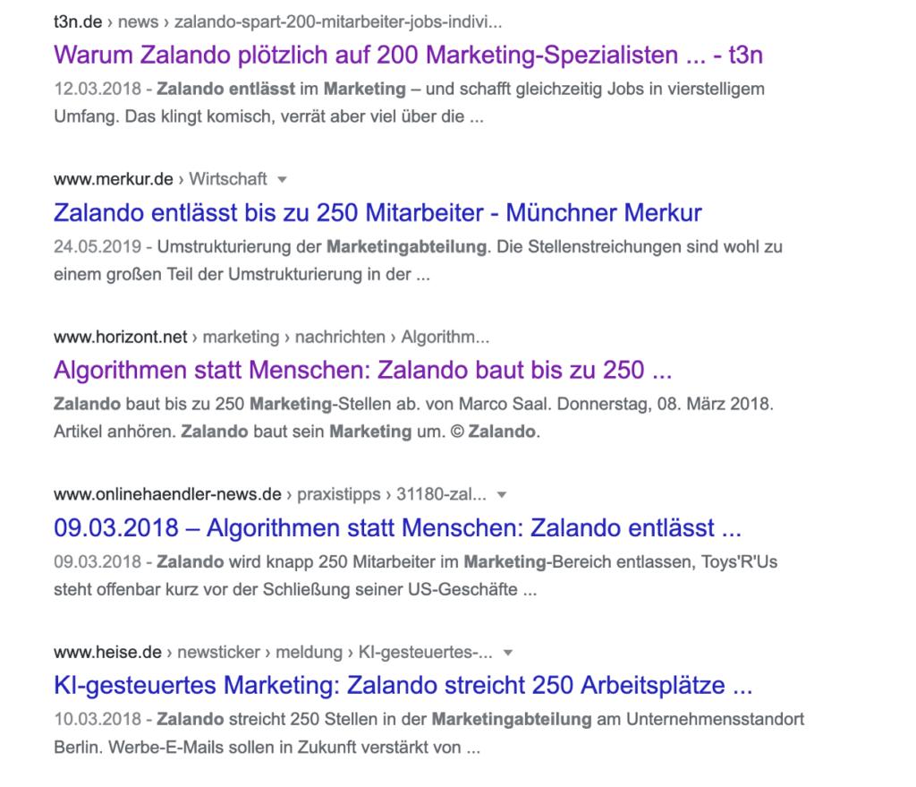 Zalando entlässt 250 Marketing-Spezialisten und ersetzt diese durch KI-gesteuertes Marketing.