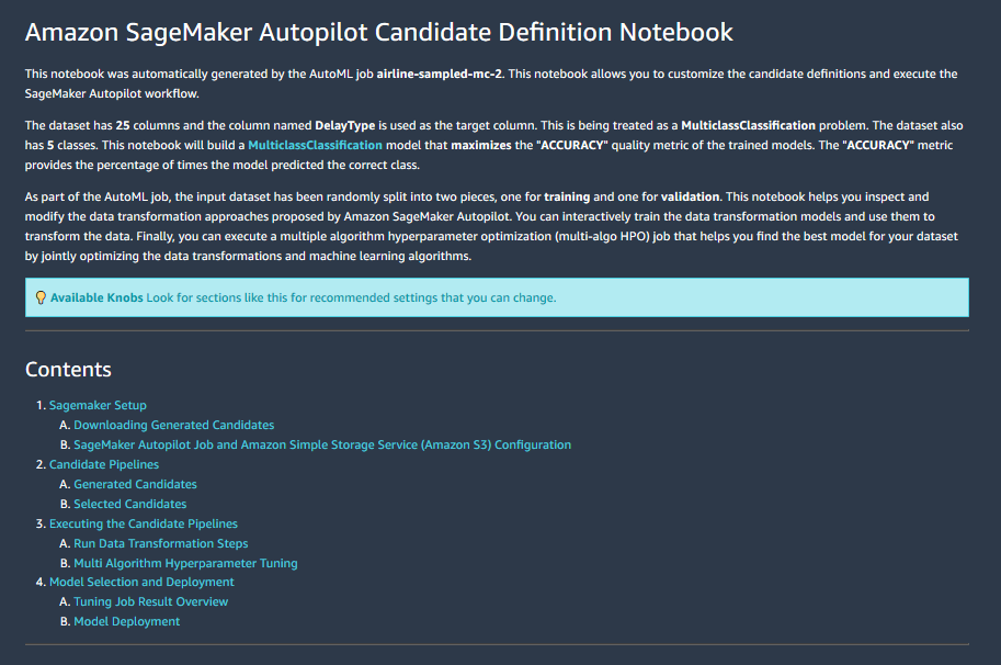 Amazon Sagemaker Autopilot hilft bei der automatisierten Notebook-Erstellung.